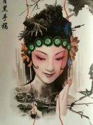 艺妓拿扇子纹身图片等艺妓纹身图片。