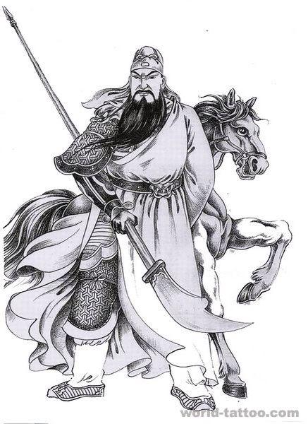 男满背关公纹身,关公纹身黑色、彩色,满背关公骑战马纹身图案图片